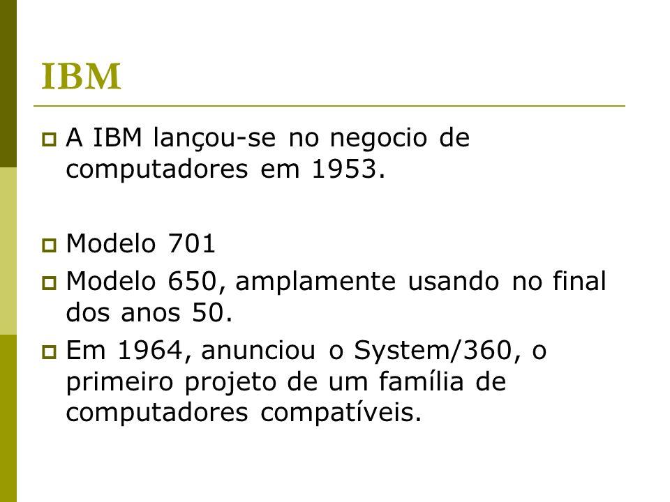 IBM A IBM lançou-se no negocio de computadores em 1953. Modelo 701
