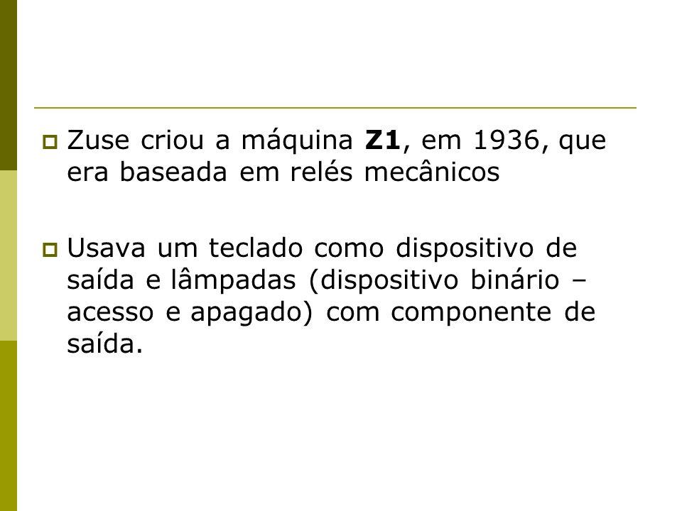 Zuse criou a máquina Z1, em 1936, que era baseada em relés mecânicos