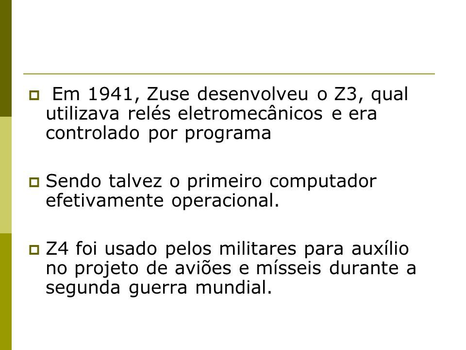 Em 1941, Zuse desenvolveu o Z3, qual utilizava relés eletromecânicos e era controlado por programa