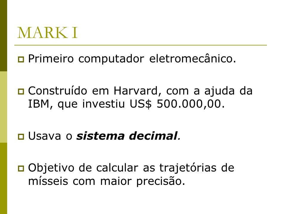 MARK I Primeiro computador eletromecânico.