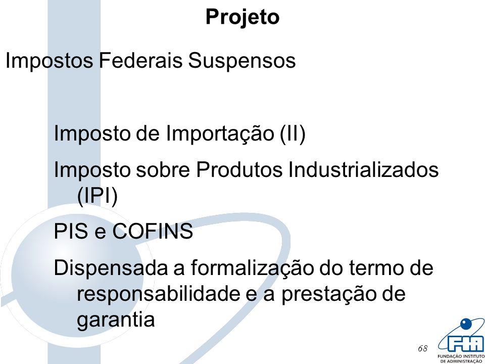 Projeto Impostos Federais Suspensos. Imposto de Importação (II) Imposto sobre Produtos Industrializados (IPI)