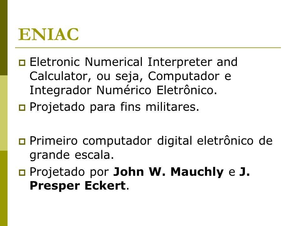 ENIAC Eletronic Numerical Interpreter and Calculator, ou seja, Computador e Integrador Numérico Eletrônico.