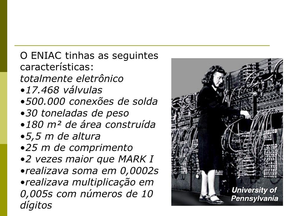 O ENIAC tinhas as seguintes características: