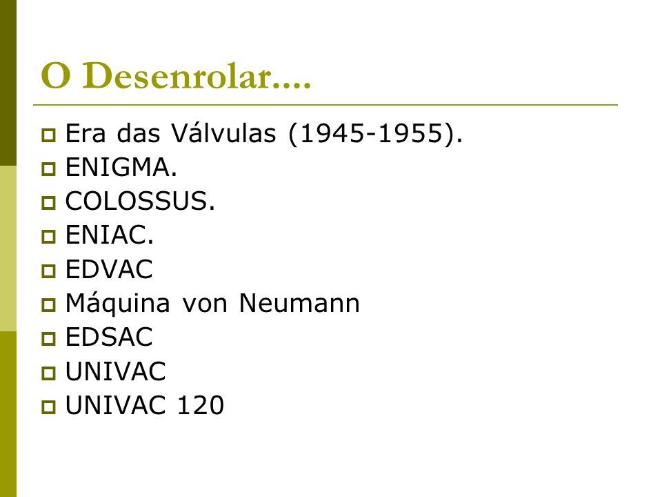 O Desenrolar.... Era das Válvulas (1945-1955). ENIGMA. COLOSSUS.