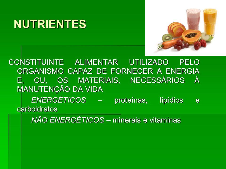 NUTRIENTESCONSTITUINTE ALIMENTAR UTILIZADO PELO ORGANISMO CAPAZ DE FORNECER A ENERGIA E, OU, OS MATERIAIS, NECESSÁRIOS À MANUTENÇÃO DA VIDA.