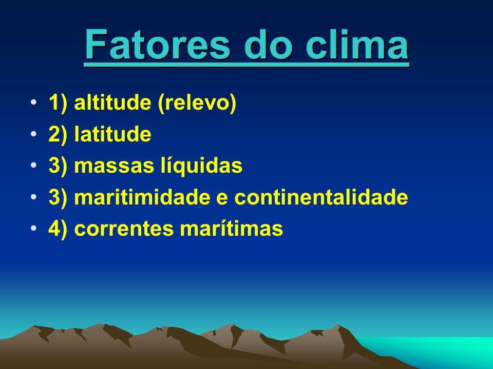 Fatores do clima 1) altitude (relevo) 2) latitude 3) massas líquidas