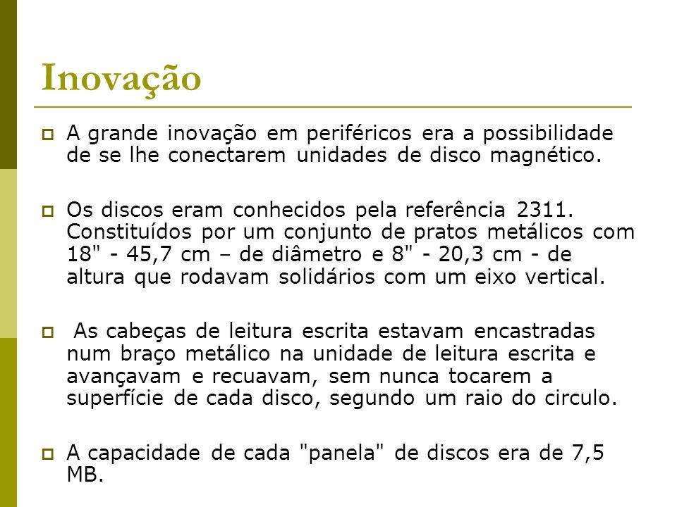 Inovação A grande inovação em periféricos era a possibilidade de se lhe conectarem unidades de disco magnético.