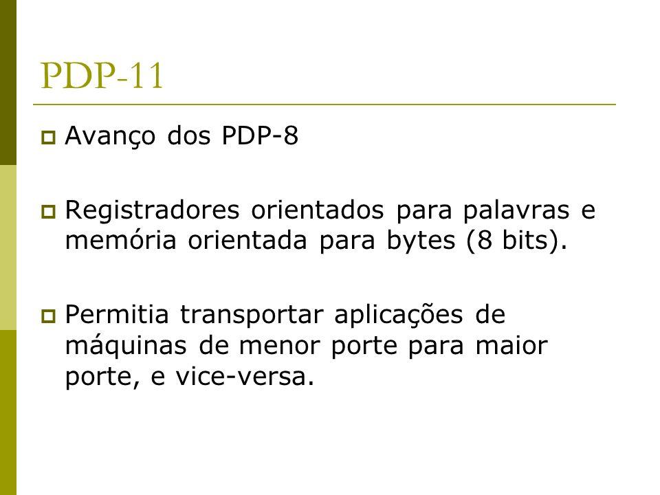 PDP-11Avanço dos PDP-8. Registradores orientados para palavras e memória orientada para bytes (8 bits).