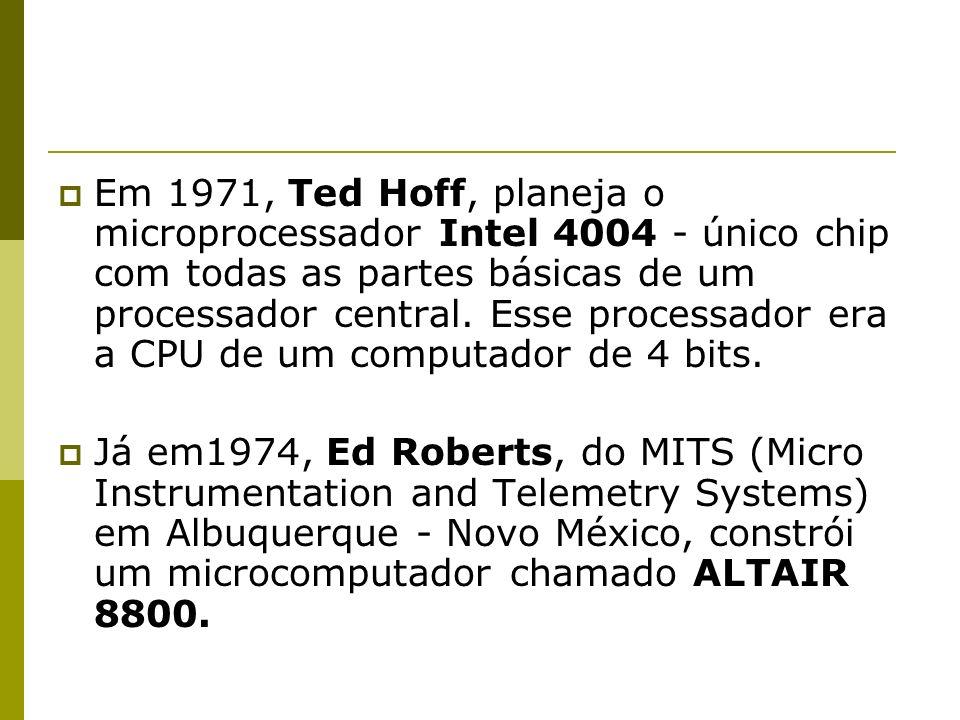 Em 1971, Ted Hoff, planeja o microprocessador Intel 4004 - único chip com todas as partes básicas de um processador central. Esse processador era a CPU de um computador de 4 bits.