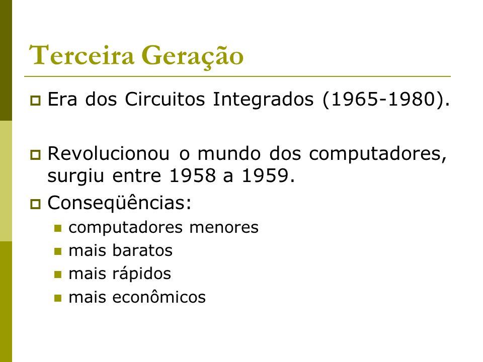 Terceira Geração Era dos Circuitos Integrados (1965-1980).