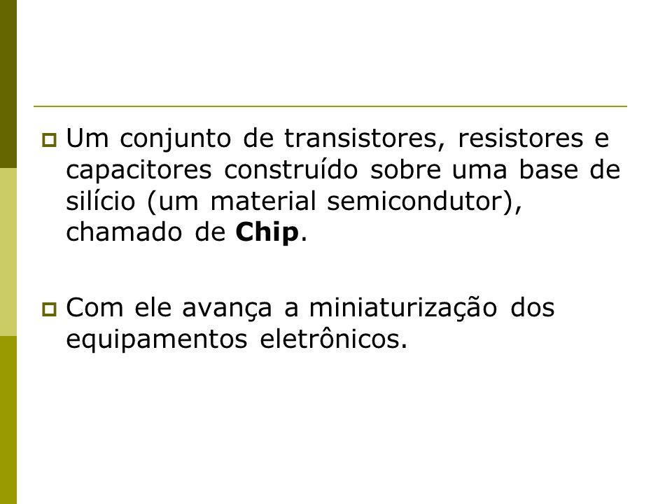 Um conjunto de transistores, resistores e capacitores construído sobre uma base de silício (um material semicondutor), chamado de Chip.