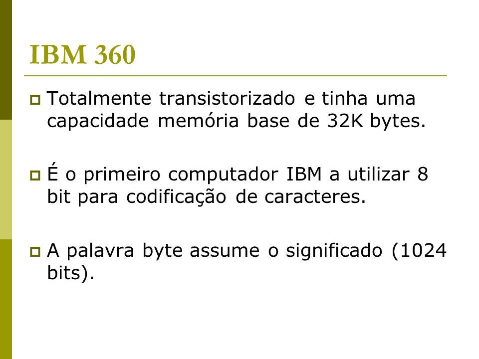IBM 360 Totalmente transistorizado e tinha uma capacidade memória base de 32K bytes.