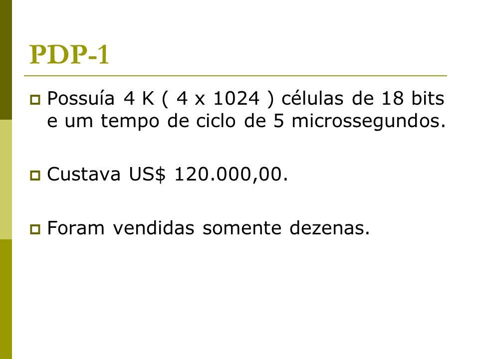 PDP-1 Possuía 4 K ( 4 x 1024 ) células de 18 bits e um tempo de ciclo de 5 microssegundos. Custava US$ 120.000,00.