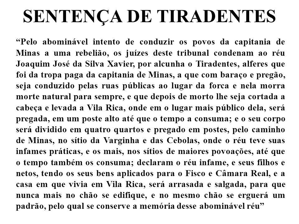 SENTENÇA DE TIRADENTES
