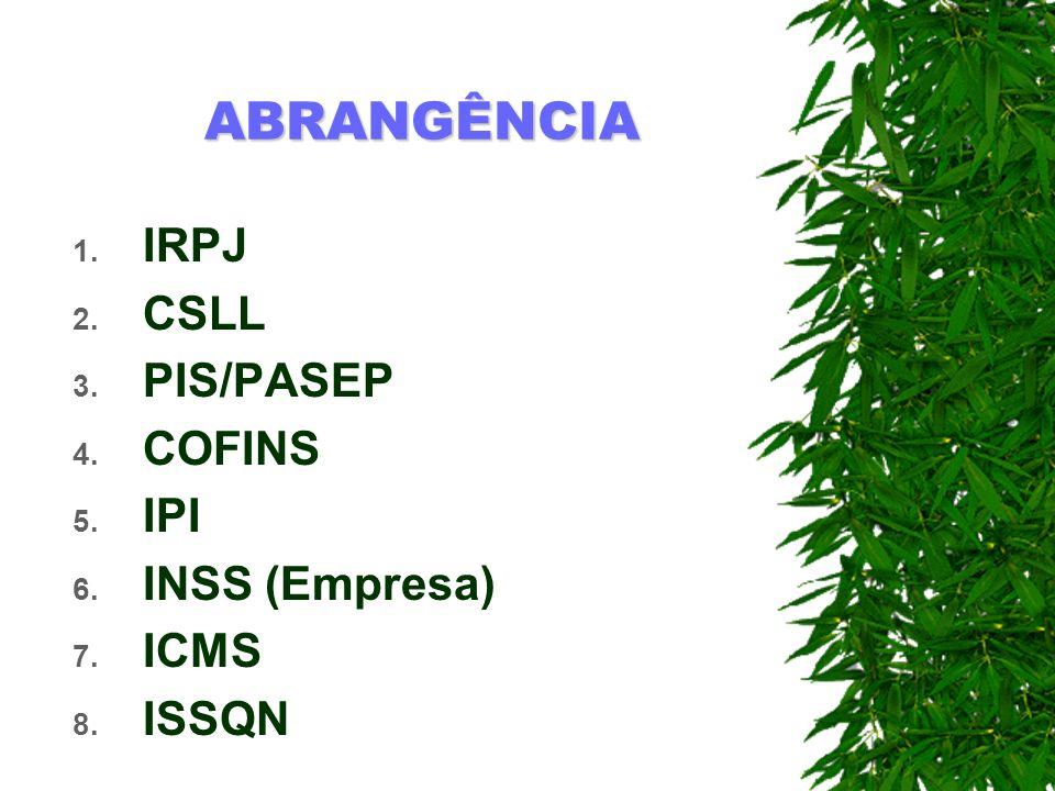 IRPJ CSLL PIS/PASEP COFINS IPI INSS (Empresa) ICMS ISSQN