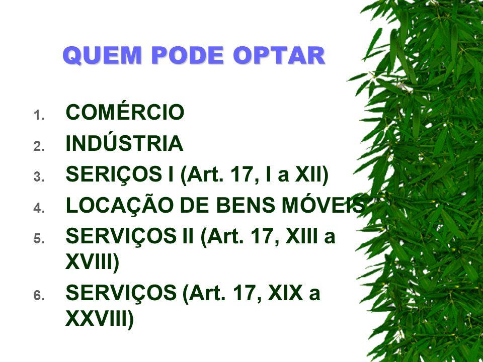 QUEM PODE OPTAR COMÉRCIO INDÚSTRIA SERIÇOS I (Art. 17, I a XII)