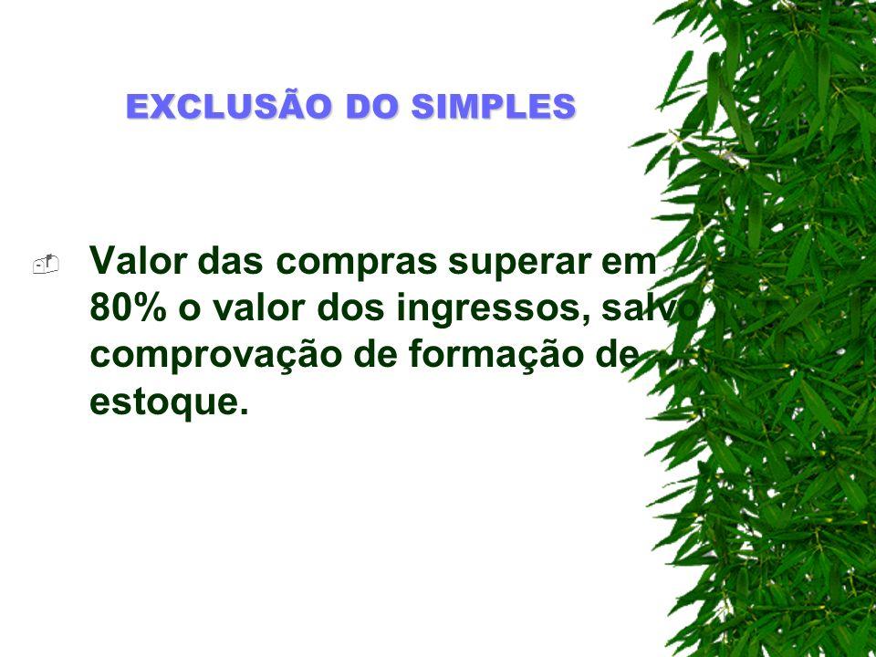 EXCLUSÃO DO SIMPLESValor das compras superar em 80% o valor dos ingressos, salvo comprovação de formação de estoque.