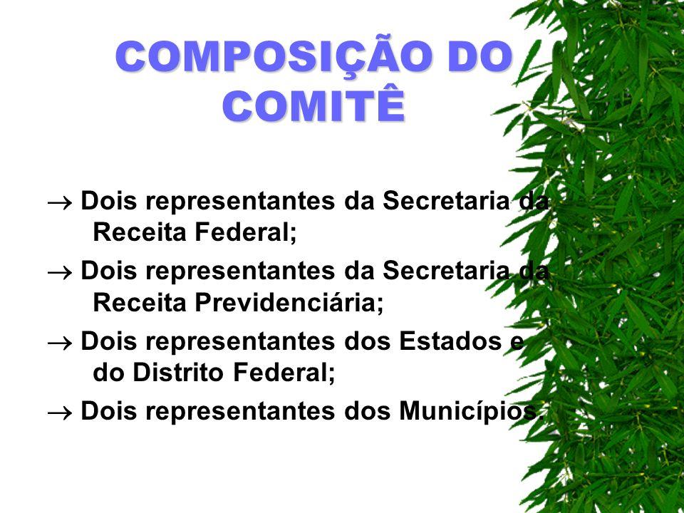 COMPOSIÇÃO DO COMITÊ Dois representantes da Secretaria da Receita Federal;  Dois representantes da Secretaria da Receita Previdenciária;
