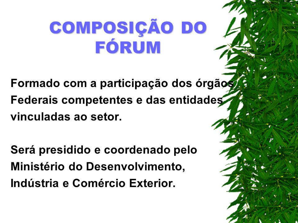 COMPOSIÇÃO DO FÓRUM Formado com a participação dos órgãos