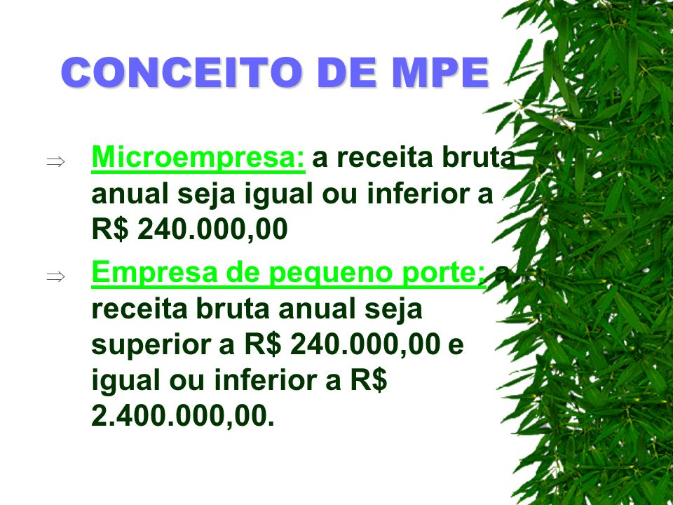 CONCEITO DE MPE Microempresa: a receita bruta anual seja igual ou inferior a R$ 240.000,00.