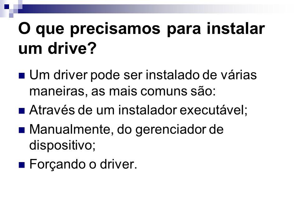 O que precisamos para instalar um drive