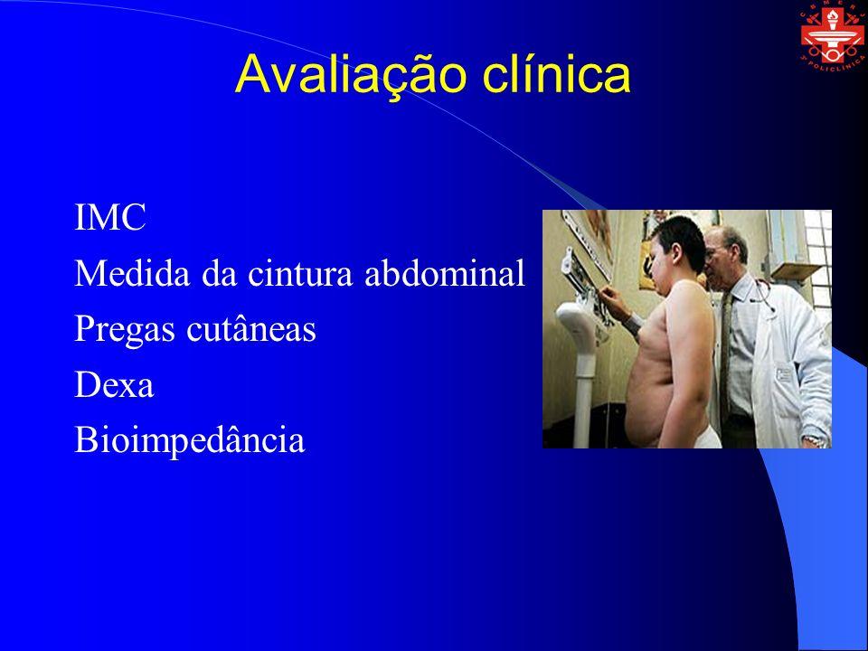 Avaliação clínica IMC Medida da cintura abdominal Pregas cutâneas Dexa