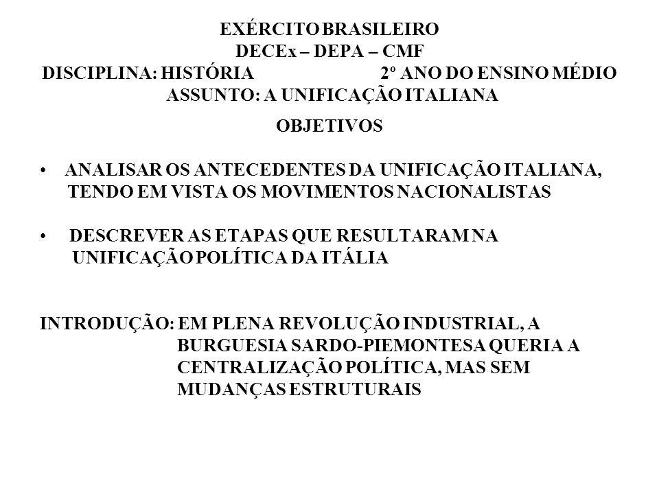 EXÉRCITO BRASILEIRO DECEx – DEPA – CMF DISCIPLINA: HISTÓRIA 2º ANO DO ENSINO MÉDIO ASSUNTO: A UNIFICAÇÃO ITALIANA