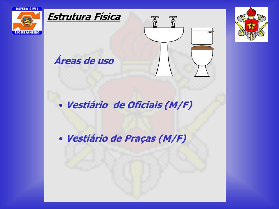Estrutura Física Áreas de uso Vestiário de Oficiais (M/F) Vestiário de Praças (M/F)