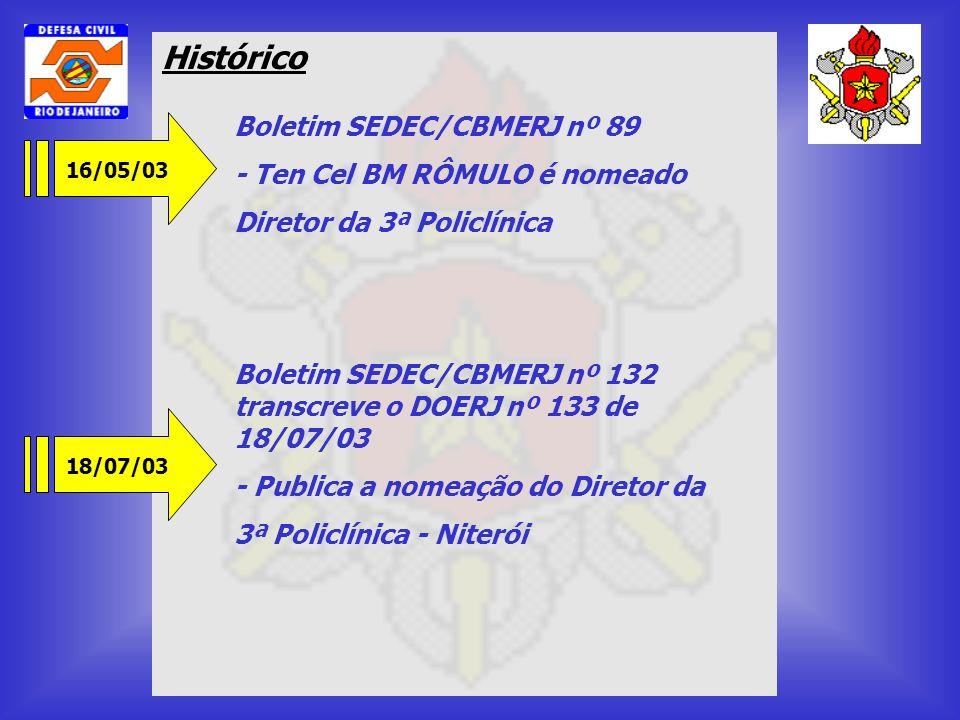 Histórico Boletim SEDEC/CBMERJ nº 89 - Ten Cel BM RÔMULO é nomeado
