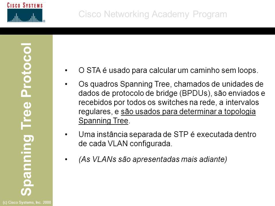 O STA é usado para calcular um caminho sem loops.