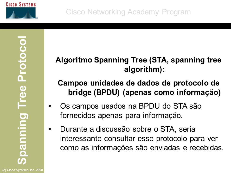 Algoritmo Spanning Tree (STA, spanning tree algorithm):