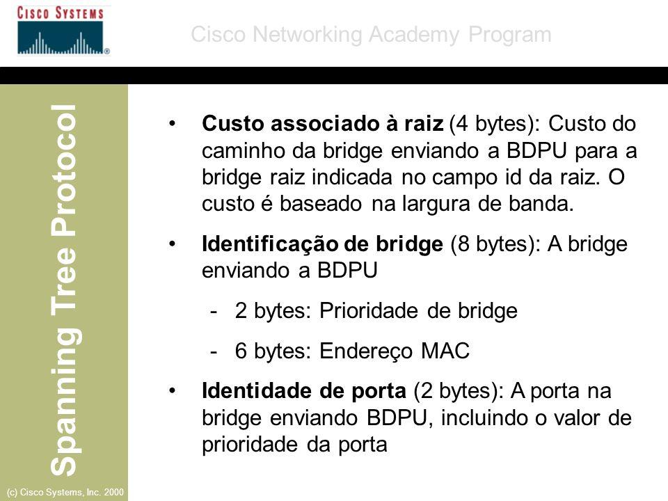 Custo associado à raiz (4 bytes): Custo do caminho da bridge enviando a BDPU para a bridge raiz indicada no campo id da raiz. O custo é baseado na largura de banda.