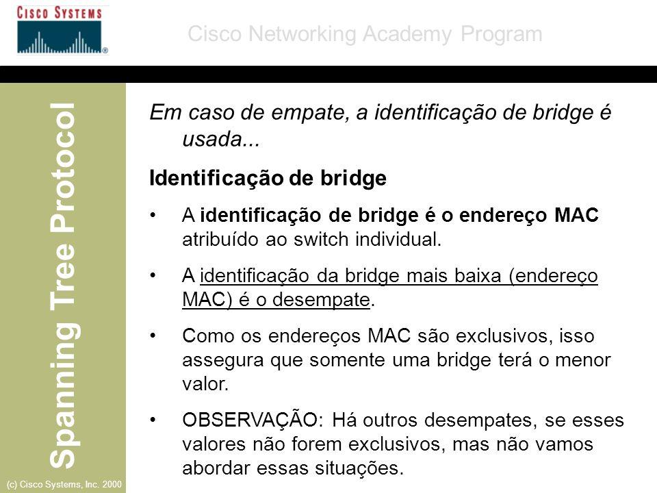 Em caso de empate, a identificação de bridge é usada...