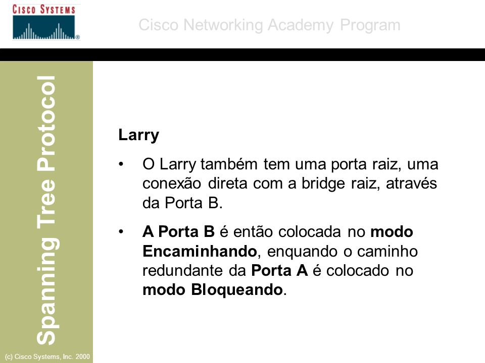 Larry O Larry também tem uma porta raiz, uma conexão direta com a bridge raiz, através da Porta B.
