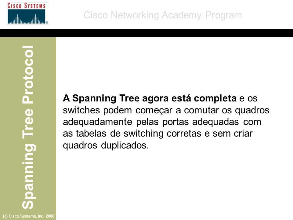 A Spanning Tree agora está completa e os switches podem começar a comutar os quadros adequadamente pelas portas adequadas com as tabelas de switching corretas e sem criar quadros duplicados.
