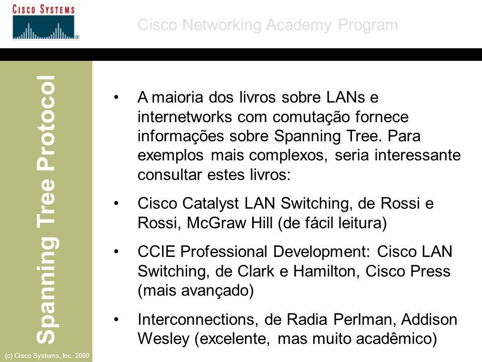 A maioria dos livros sobre LANs e internetworks com comutação fornece informações sobre Spanning Tree. Para exemplos mais complexos, seria interessante consultar estes livros: