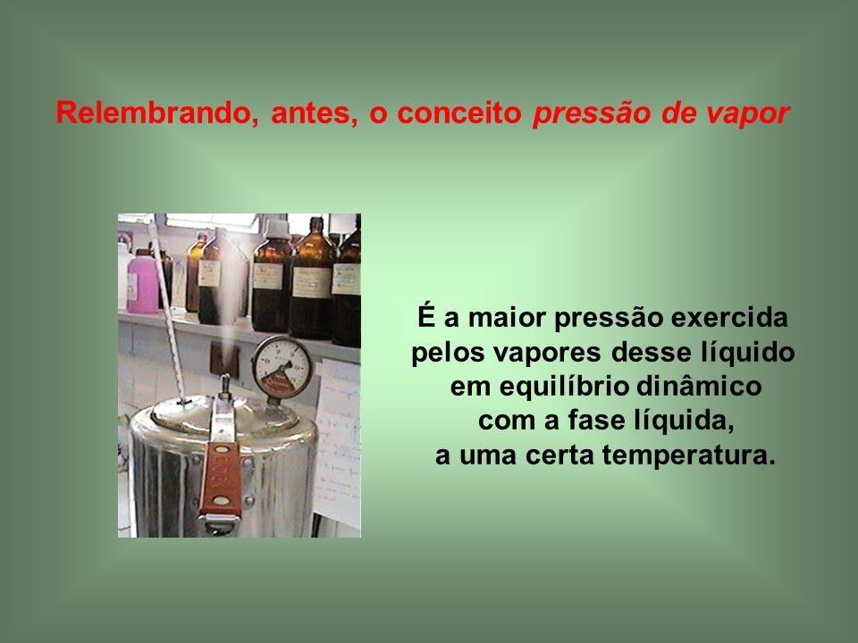 Relembrando, antes, o conceito pressão de vapor
