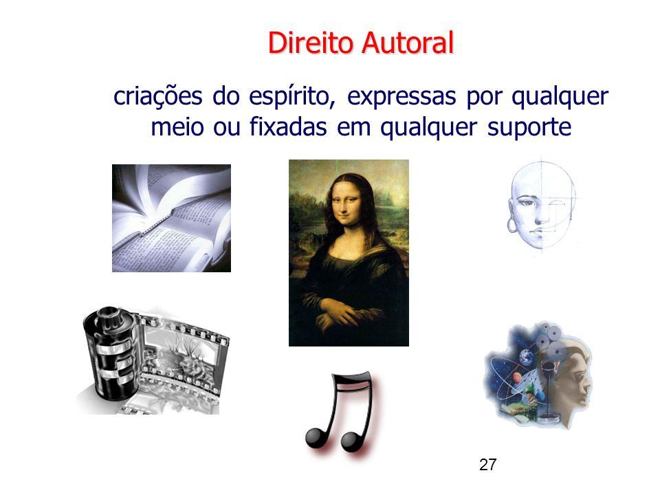 Direito Autoral criações do espírito, expressas por qualquer meio ou fixadas em qualquer suporte. 27.