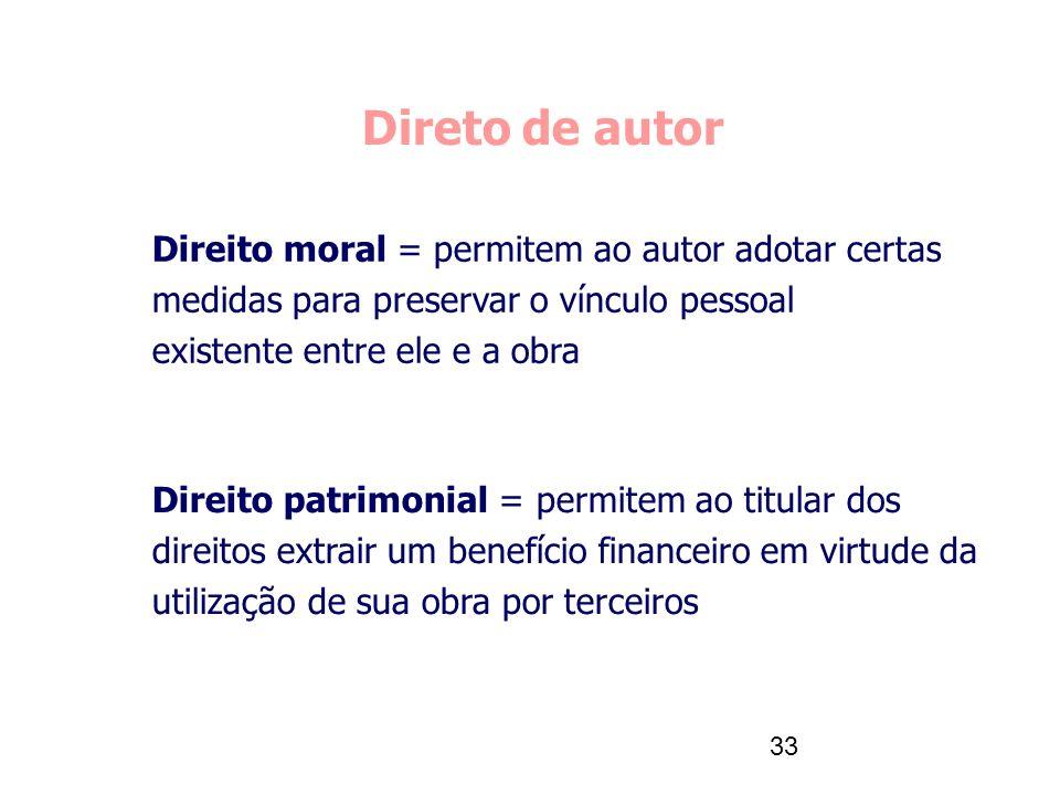 Direto de autor Direito moral = permitem ao autor adotar certas medidas para preservar o vínculo pessoal existente entre ele e a obra.