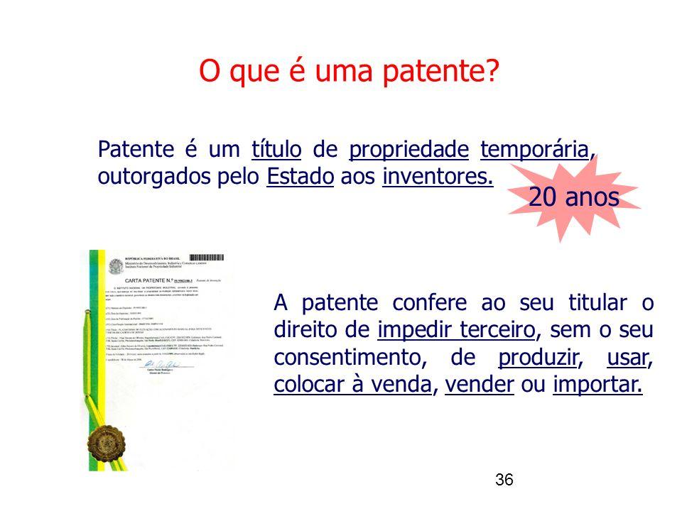 O que é uma patente Patente é um título de propriedade temporária, outorgados pelo Estado aos inventores.