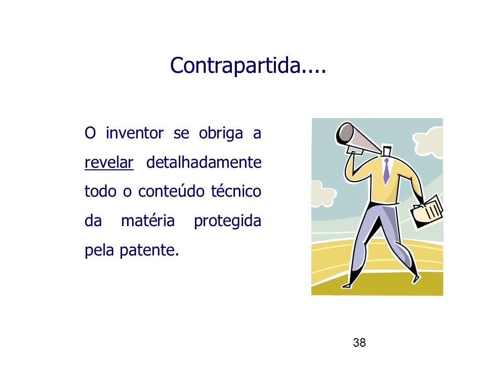 Contrapartida.... O inventor se obriga a revelar detalhadamente todo o conteúdo técnico da matéria protegida pela patente.