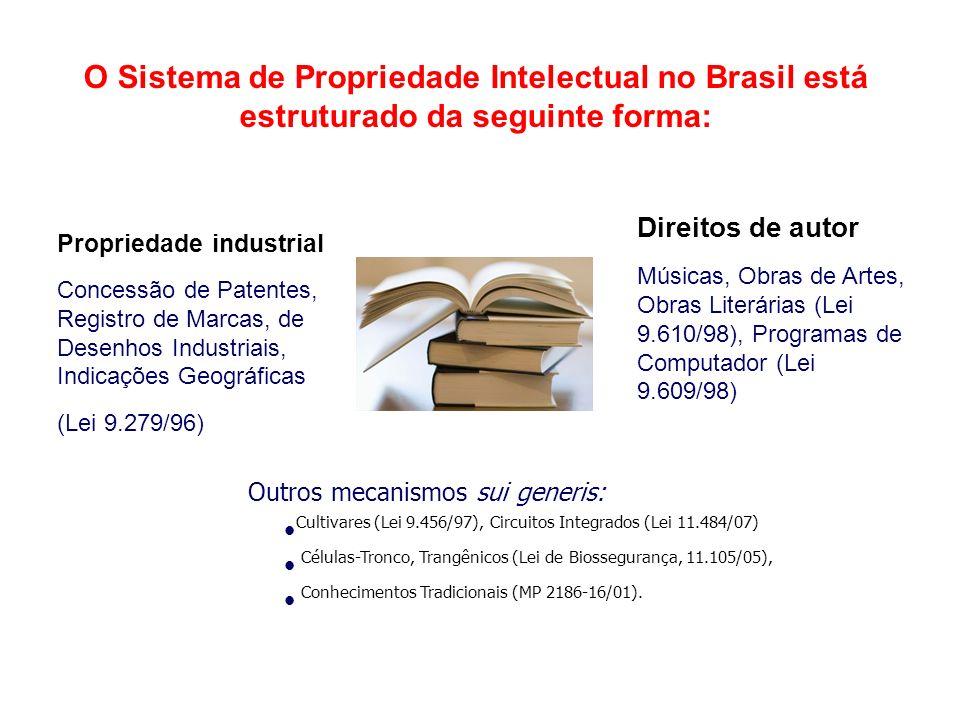 O Sistema de Propriedade Intelectual no Brasil está estruturado da seguinte forma: