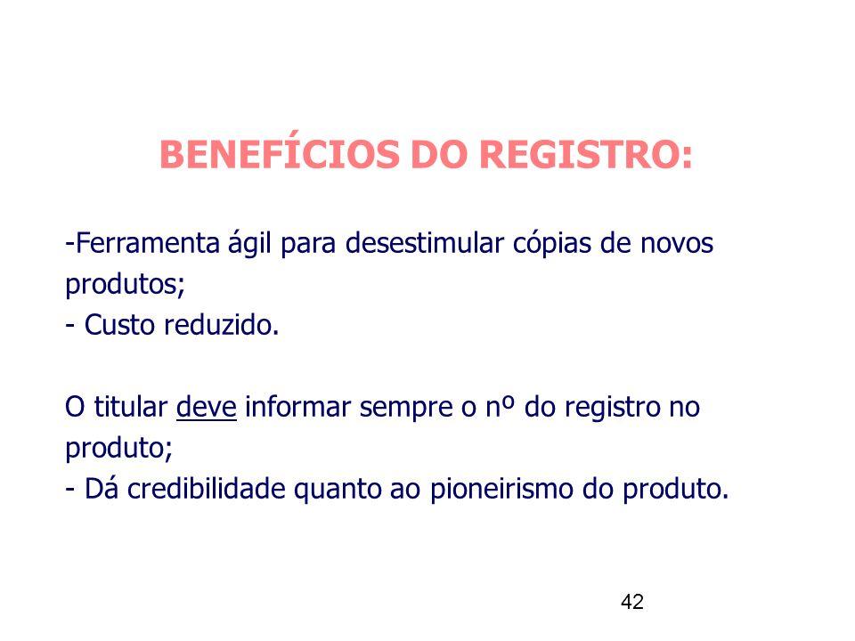 BENEFÍCIOS DO REGISTRO: