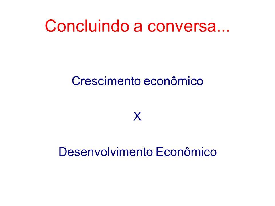 Crescimento econômico X Desenvolvimento Econômico