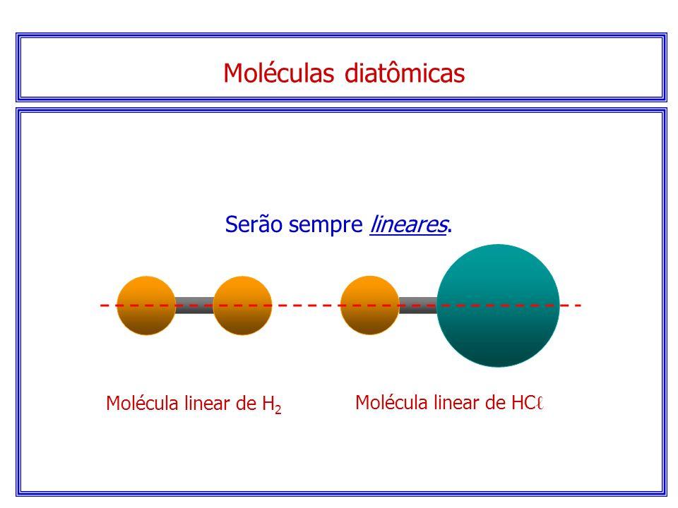 Moléculas diatômicas Serão sempre lineares. Molécula linear de H2
