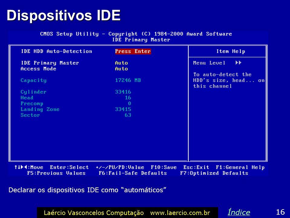 Dispositivos IDE Índice 16