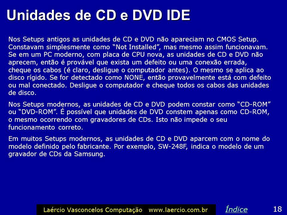 Unidades de CD e DVD IDE Índice 18