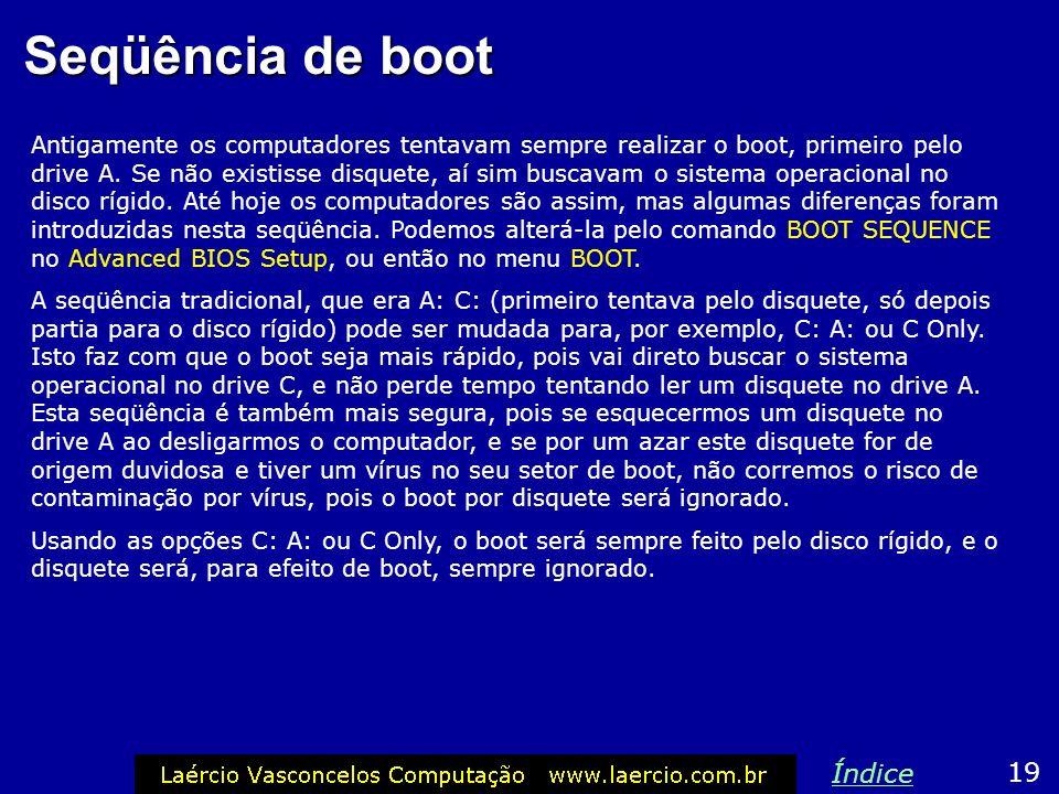 Seqüência de boot Índice 19