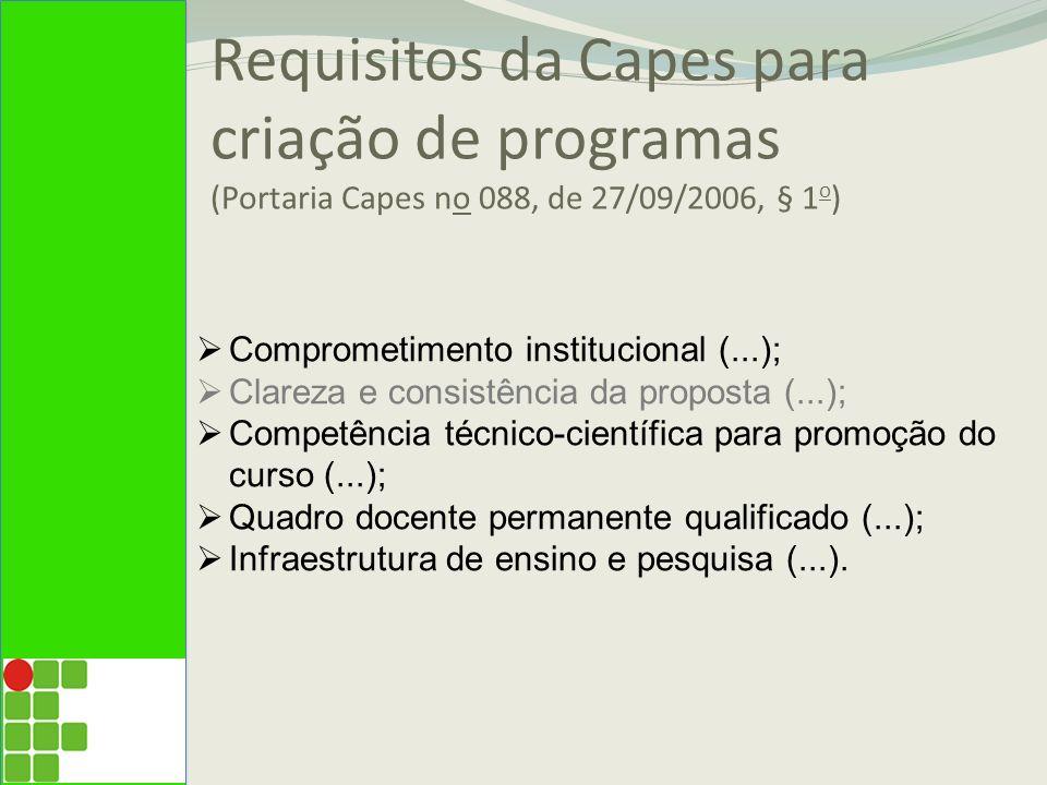 Requisitos da Capes para criação de programas (Portaria Capes no 088, de 27/09/2006, § 1o)