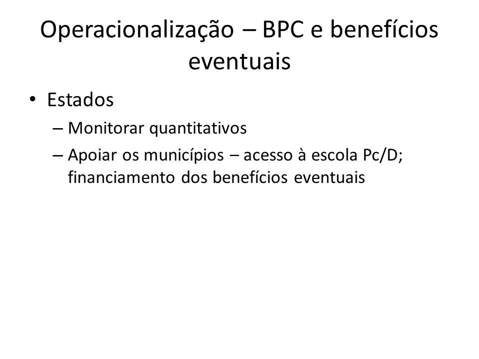 Operacionalização – BPC e benefícios eventuais